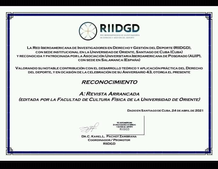 Entrega la RIIDGD reconocimiento a la Revista Arrancada